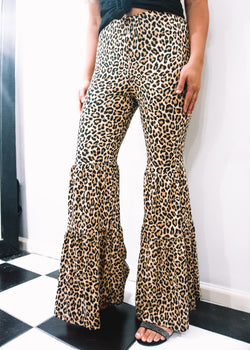 Leopard Ruffle Flares - Brunch Babe