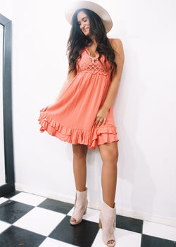 Breezy Little Coral Dress - Brunch Babe
