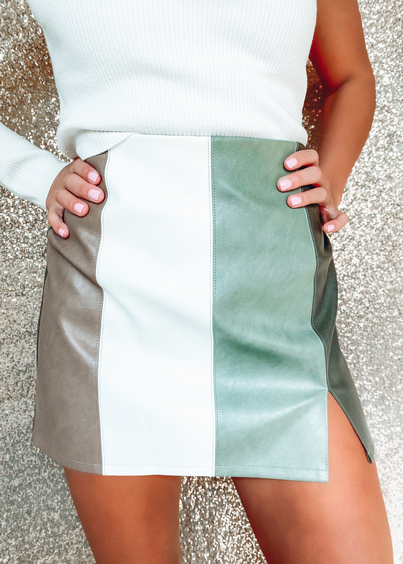 The Icon Colorblock Mini Skirt, Sage