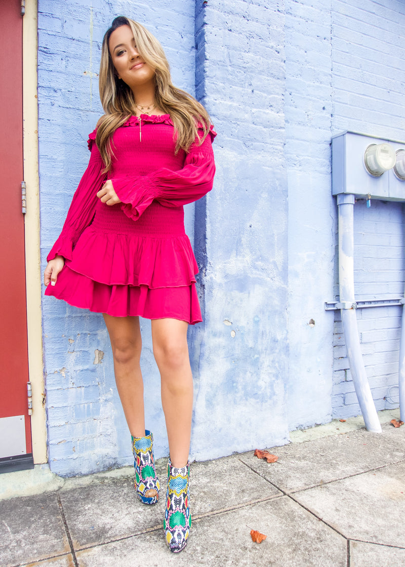 Magenta Smocked Ruffle Skirt - Brunch Babe
