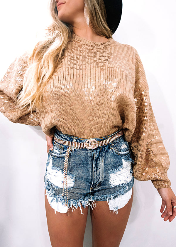 Rose Gold Leopard Pullover Sweater - Brunch Babe