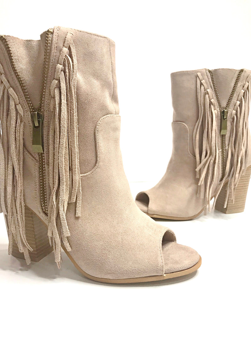 Fall Fringe Booties, Nude - Brunch Babe