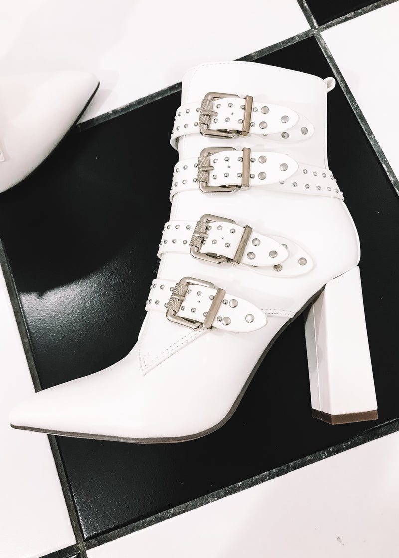 Buckle Up White Booties - Brunch Babe