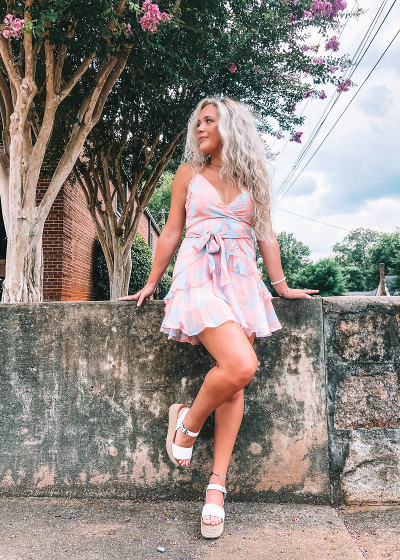 Rose Floral Print Mini Dress - Brunch Babe
