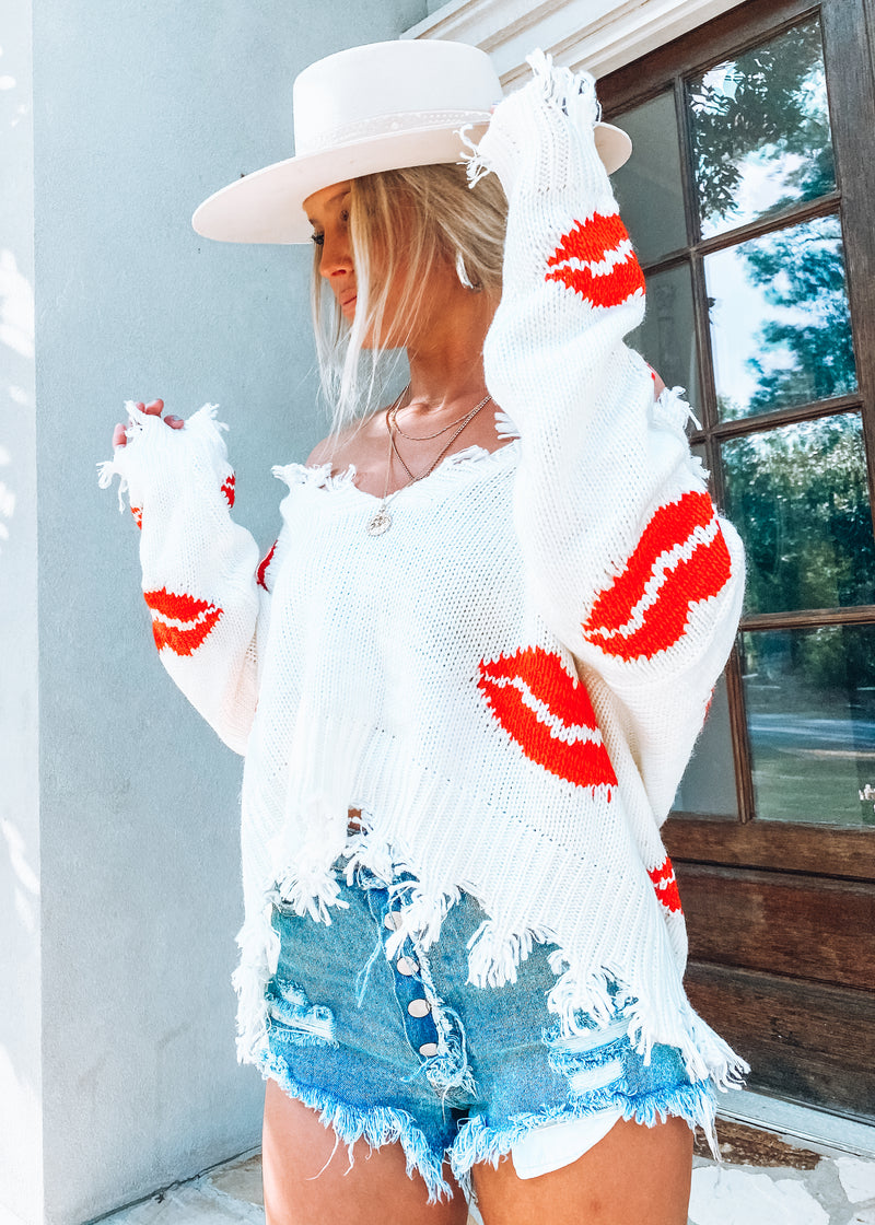 Read My Lips Reversible Sweater; Ivory + Red