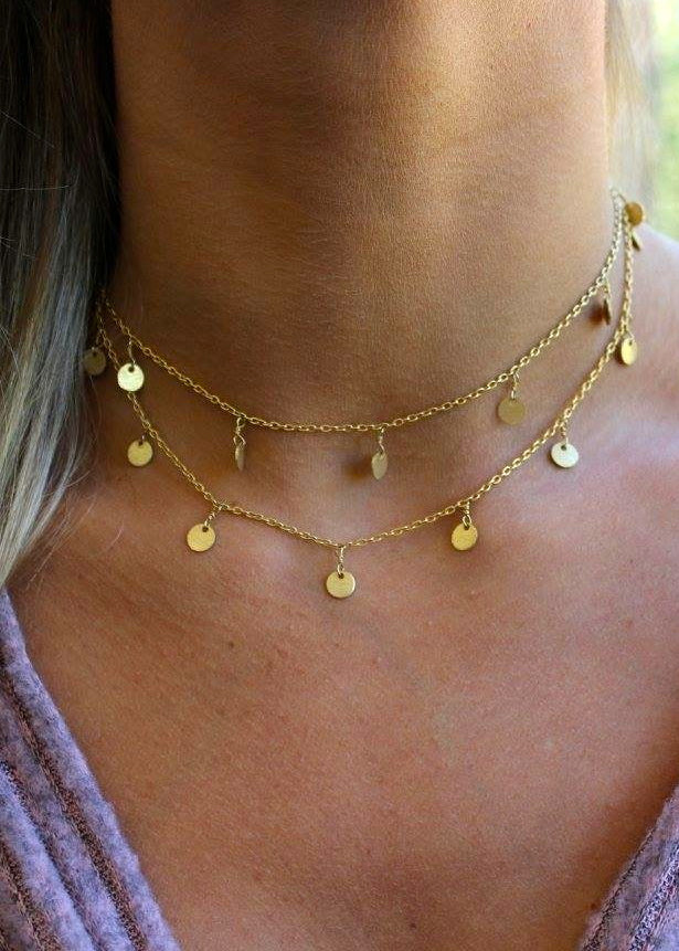 Double Layer Gold Dangle Choker - Brunch Babe