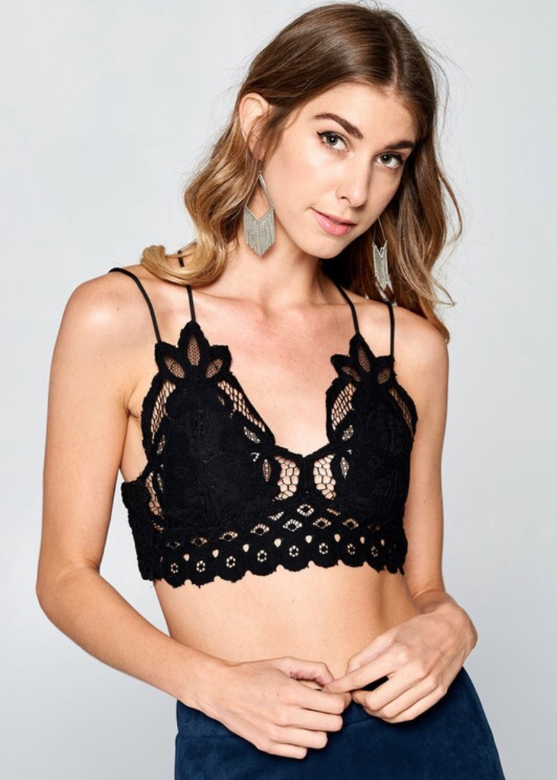 Luxe Lace Bralette, Black - Brunch Babe