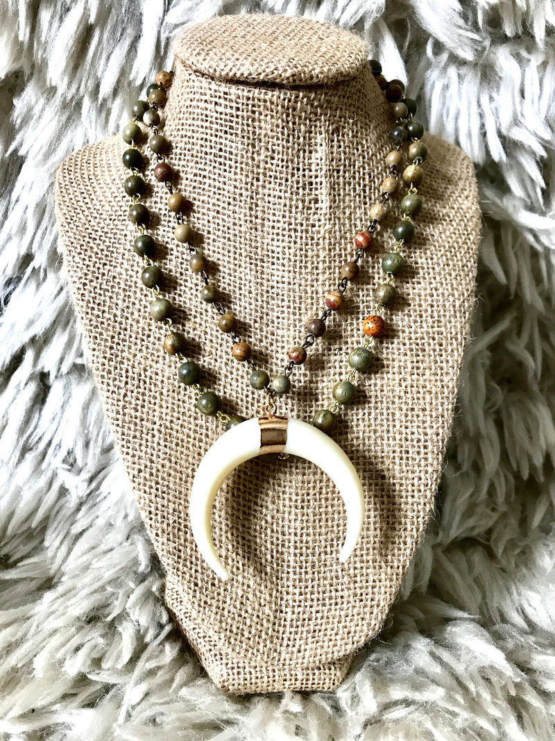 Double Layer Crescent Horn Necklace, Rustic Earth Tone Beads - Brunch Babe