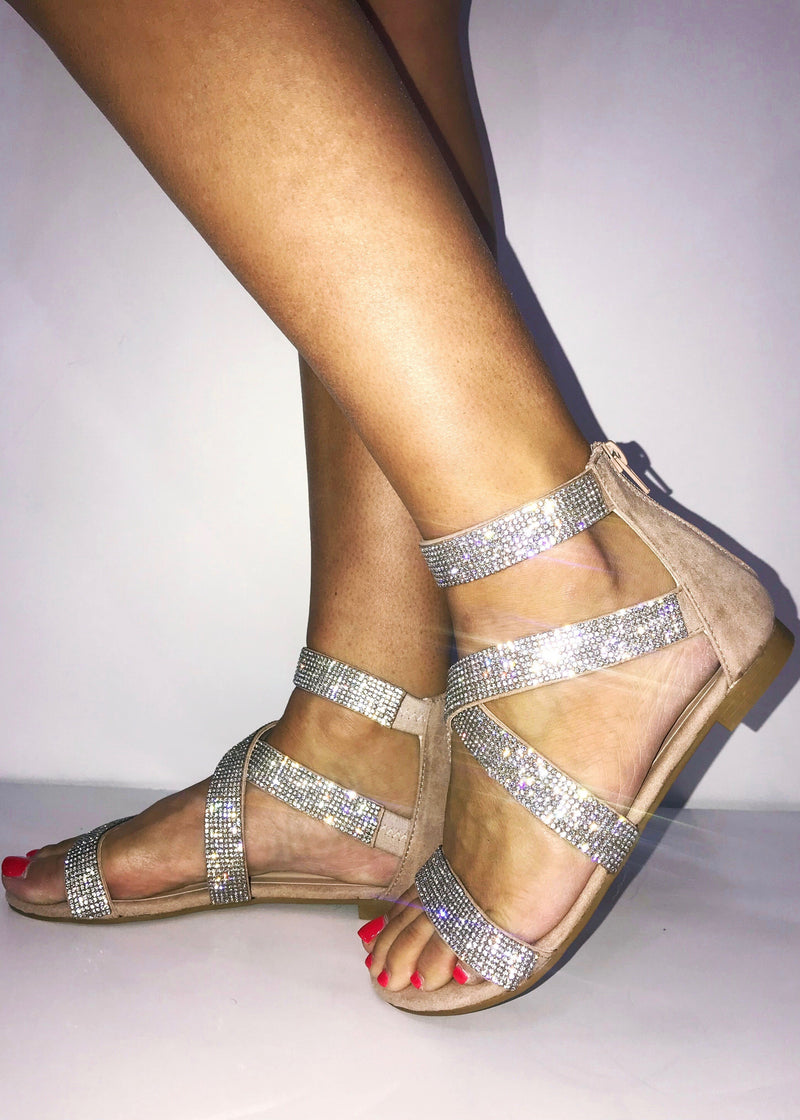 Summer Sparkle Sandals, Nuetral - Brunch Babe