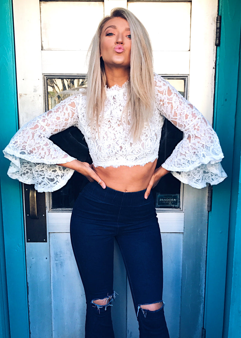 Pretty Little Lace Top, White - Brunch Babe