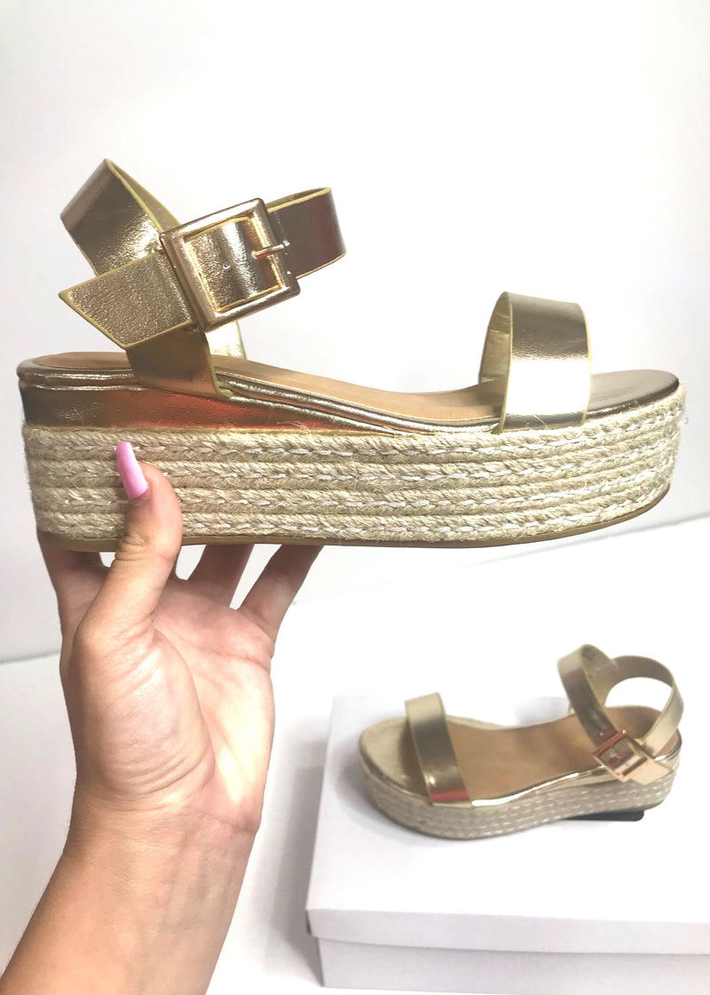 Gold Infinity Espadrille - Brunch Babe