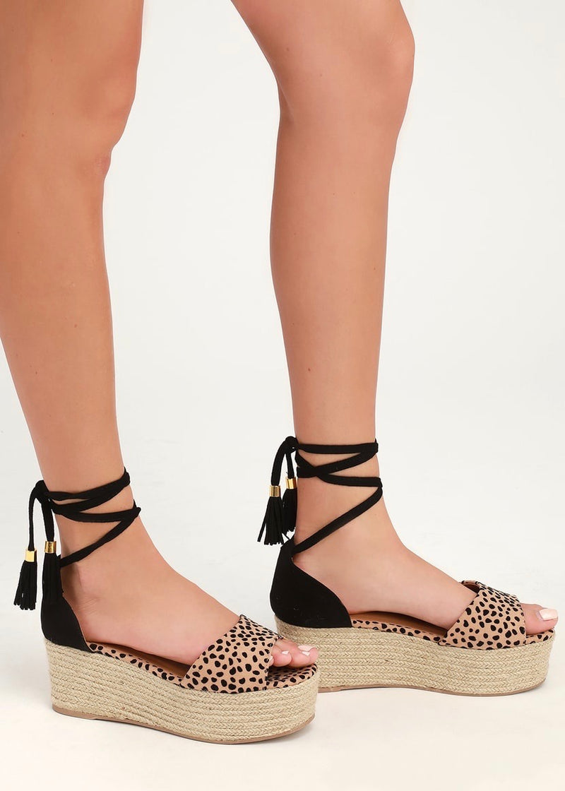Leopard Lace Up Platforms - Brunch Babe