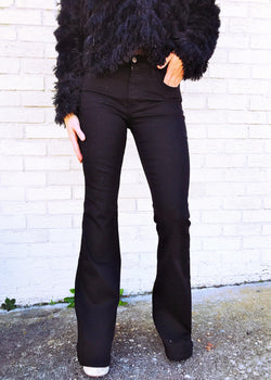 Black Flared Denim Jeans - Brunch Babe