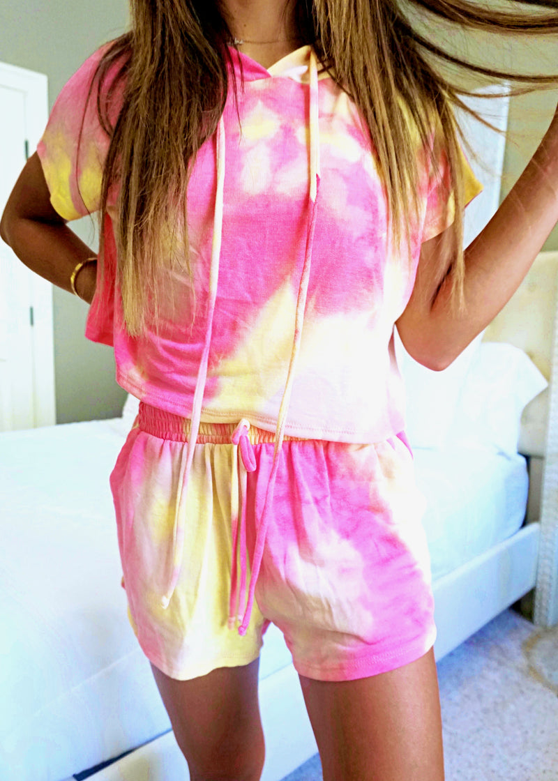 Pink Lemonade Tie Dye Lounge Set - Brunch Babe