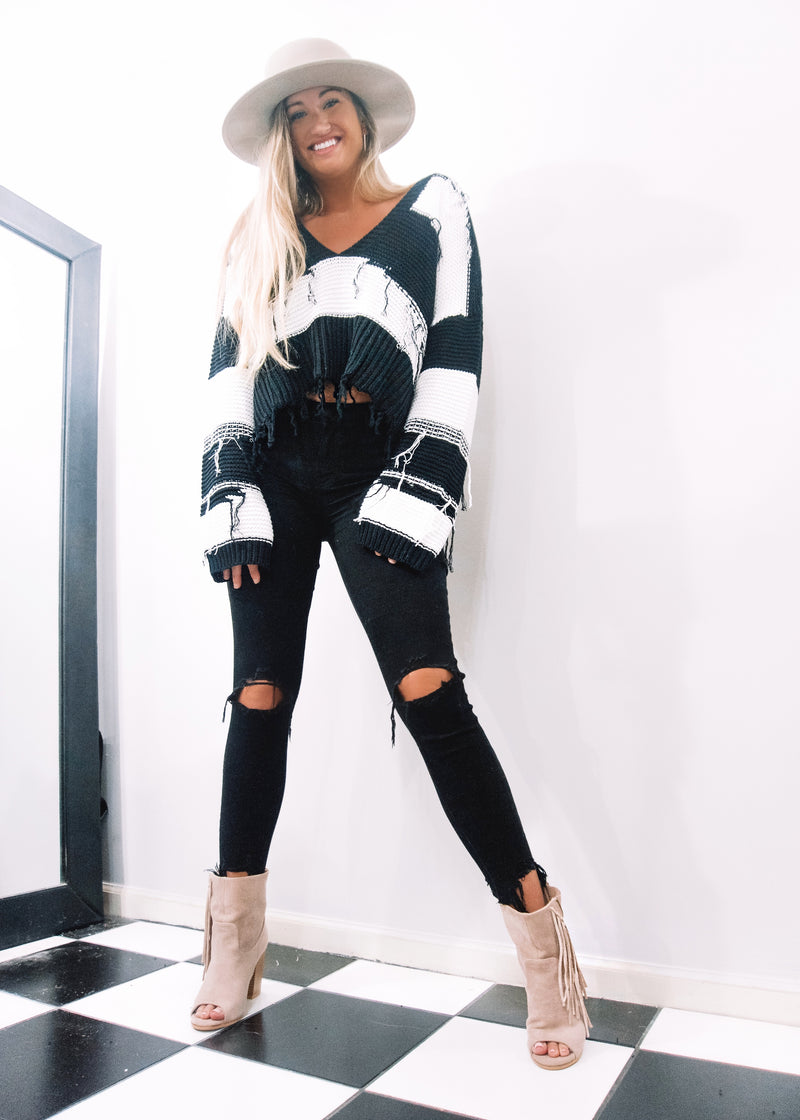 City Nights Striped Sweater - Brunch Babe