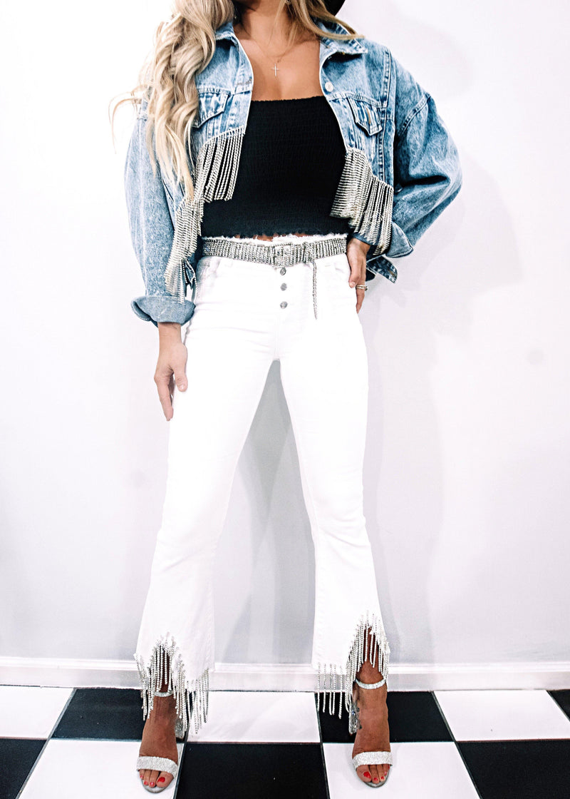 Best Bling Jeans, White - Brunch Babe