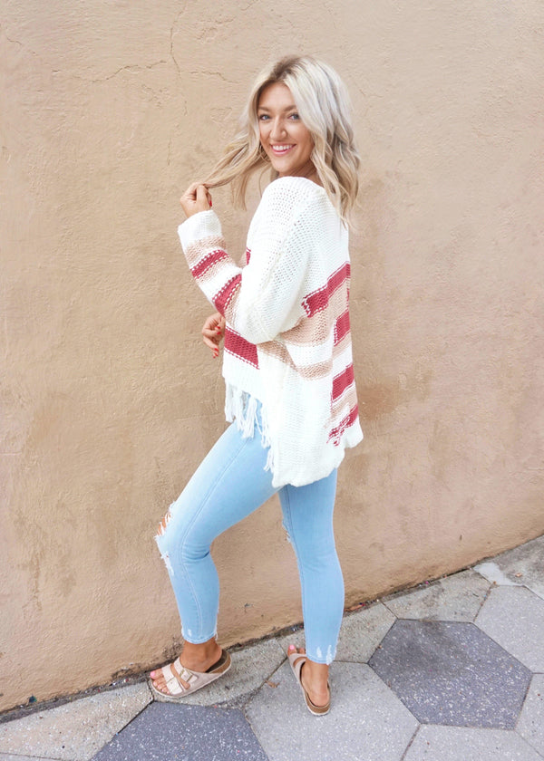 Cream Color Block Sweater - Brunch Babe