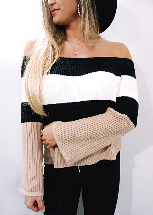 Cozy Colorblock Sweater - Brunch Babe