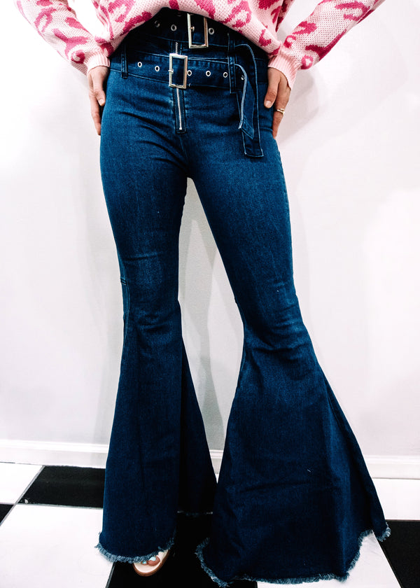 Buckle Up Dark Denim Flares