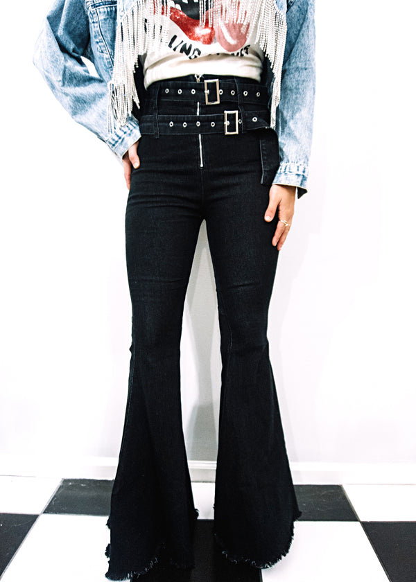 Buckle Up Black Denim Flares