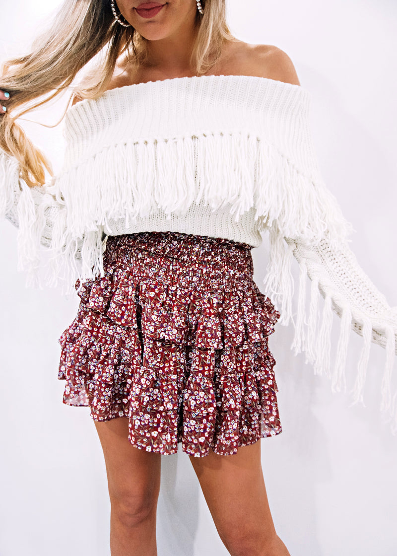 Falling Fringe Sweater, Off-White - Brunch Babe