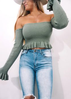 Olive Ribbed OTS Sweater - Brunch Babe