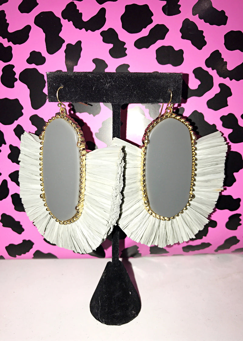 Fierce in Fringe Statement Earrings, Ice Grey - Brunch Babe