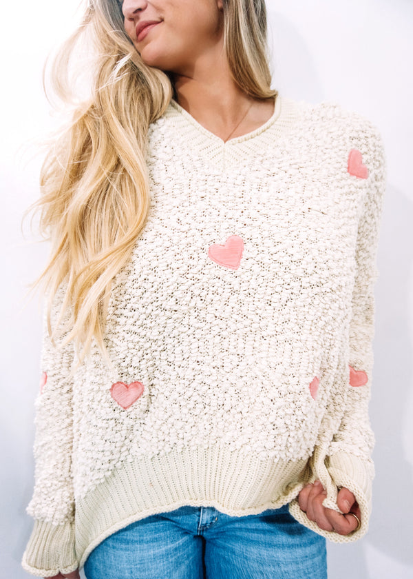Fall in Love Popcorn Hoodie, Beige/Pink