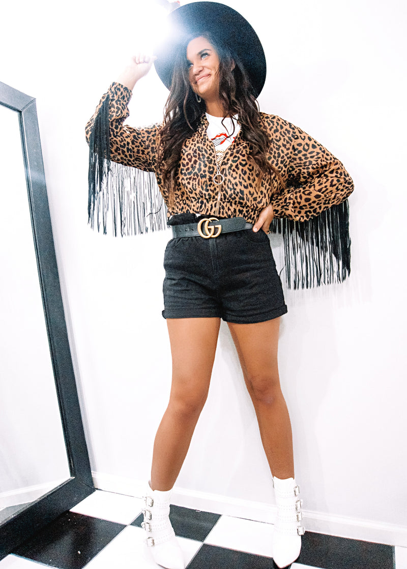 Live It Up Leopard Fringe Jacket - Brunch Babe