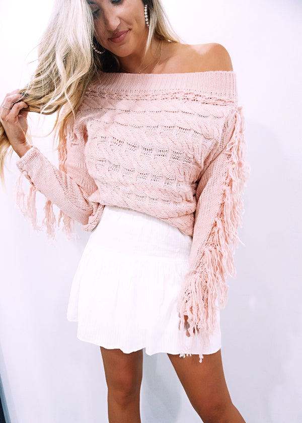 Blush Pink Tassel OTS Sweater - Brunch Babe