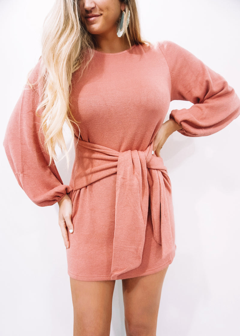 Rose Balloon Sleeve Dress - Brunch Babe