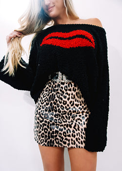 Kiss Me Sweater, Black - Brunch Babe