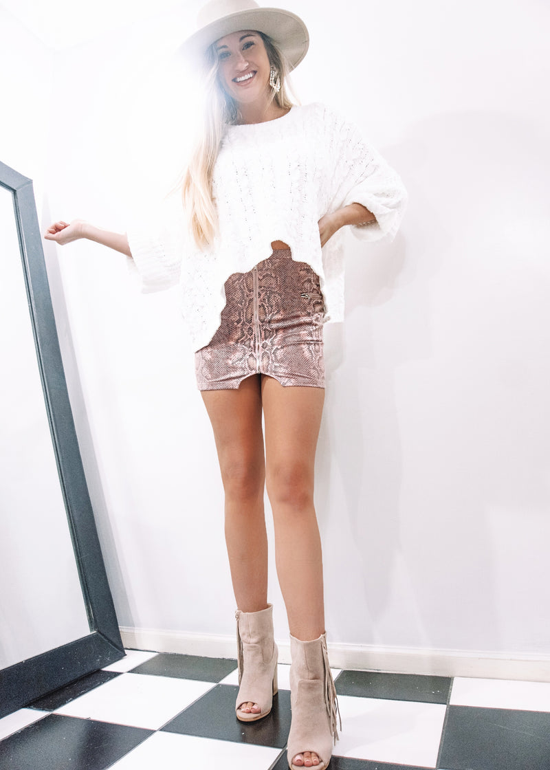Pink Snake Mini Skirt - Brunch Babe