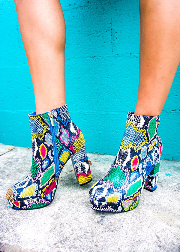 Stand Out Snake Booties - Brunch Babe