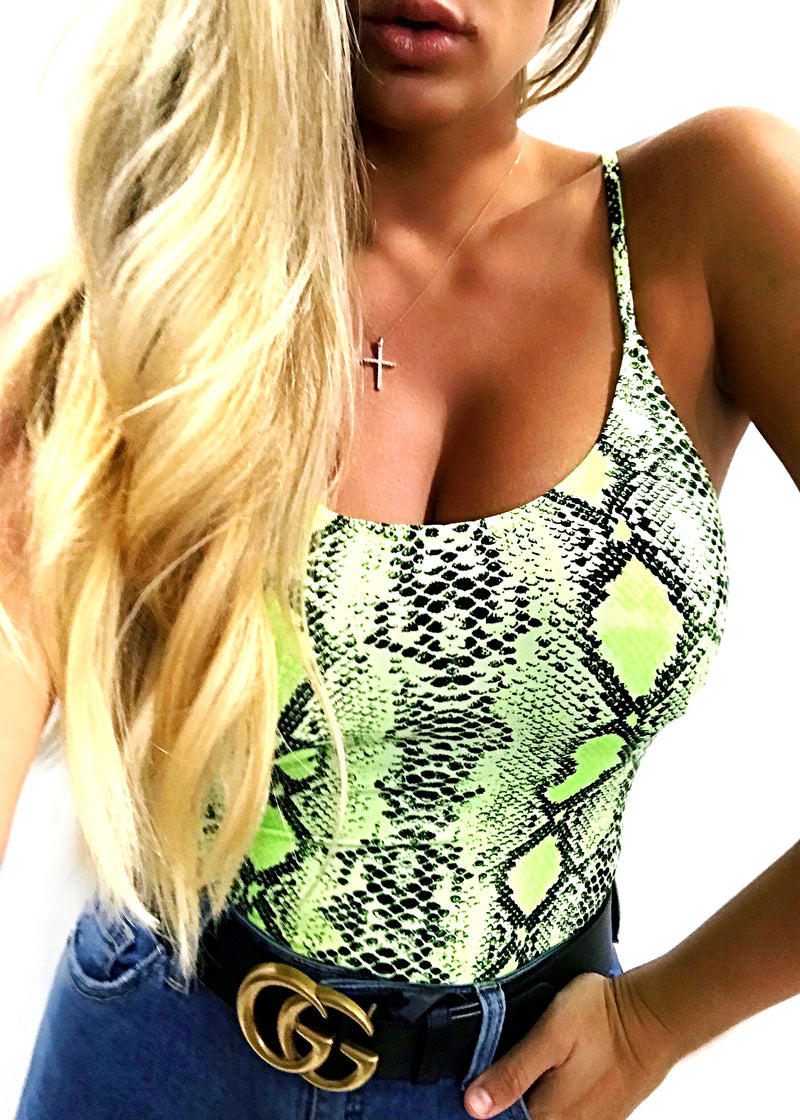 Neon Green Snake Bodysuit - Brunch Babe