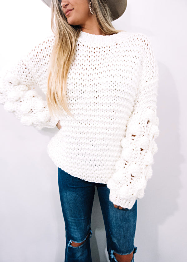 Penelope Pom Pom Sweater, Ivory - Brunch Babe