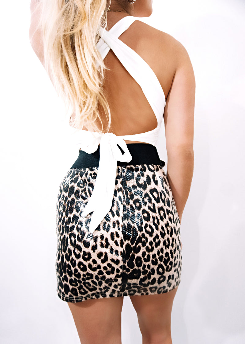 Leopard on Leather Mini - Brunch Babe