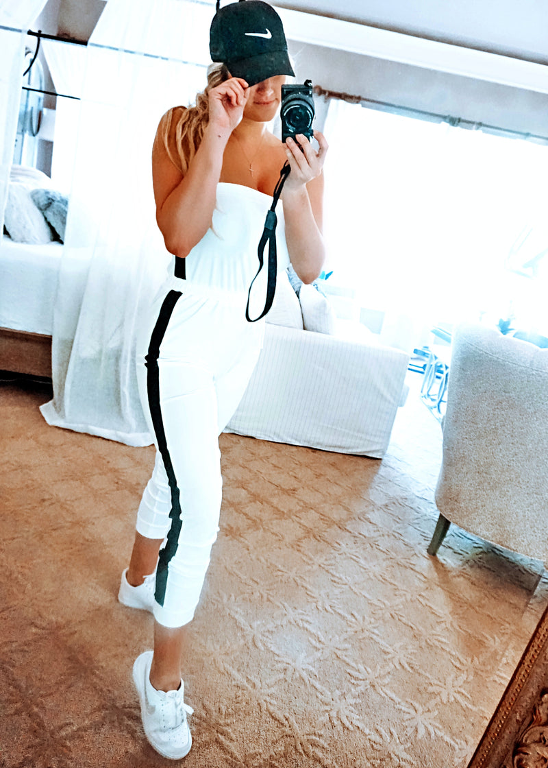 Right on Track White Jogger Jumpsuit - Brunch Babe