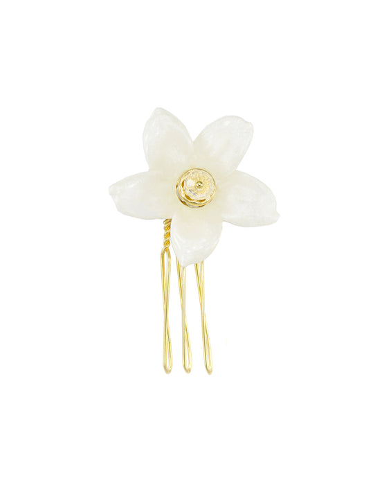 Joy Jasmine Single Blossom Comb - Gold/Ivory