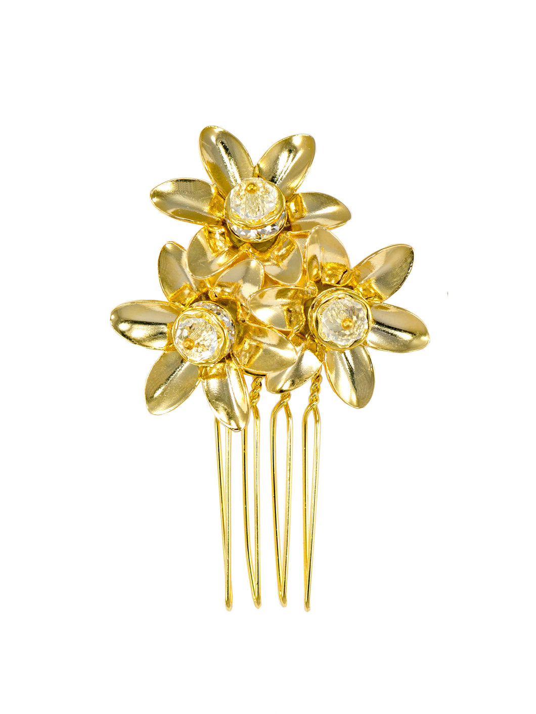 Joy Triple Flower Comb - Gold