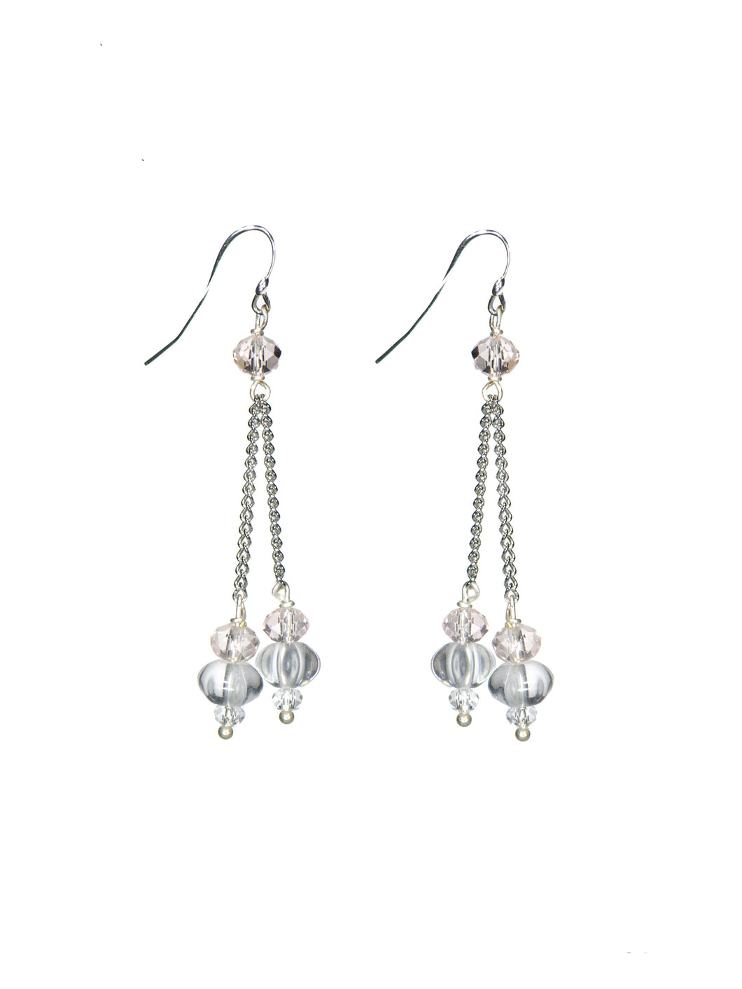 Blush Crystal Double Chain Earrings - Silver