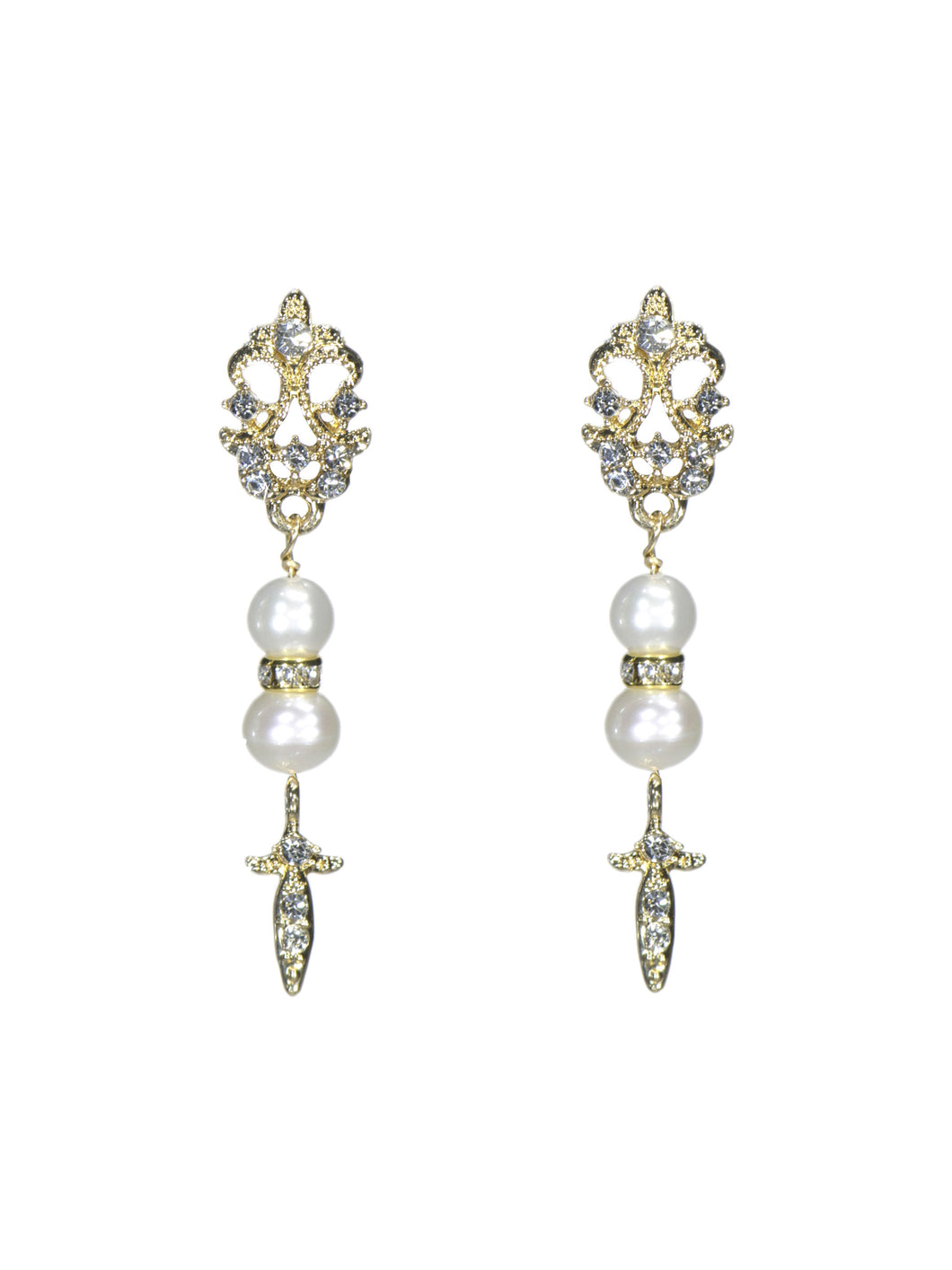 Enchantment Rhinestone & Pearl Drop Earrings - Long Gold