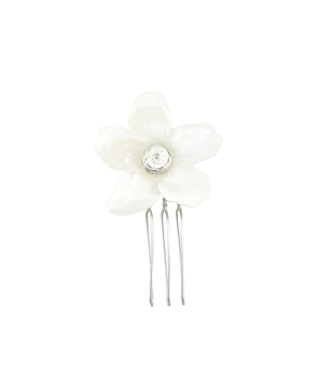 Joy Jasmine Single Blossom Comb - Silver/White