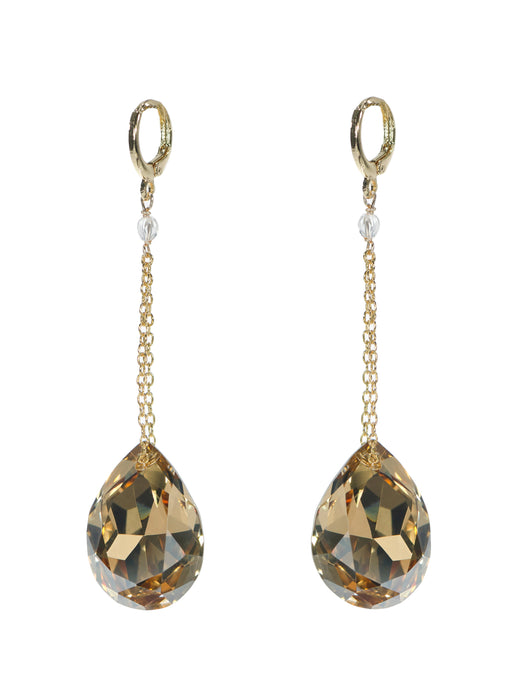 Joy Crystal Drop Earrings - Long Gold