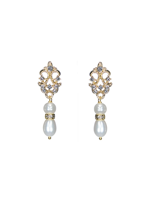 Enchantment Rhinestone & Pearl Drop Earrings - Petite Gold