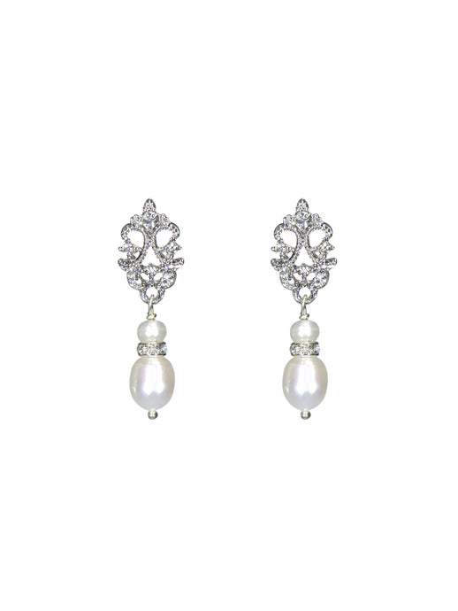 Enchantment Rhinestone & Pearl Drop Earrings - Petite Silver