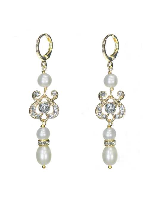 Joy Pearl Drop Earrings - Long in Gold