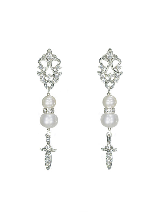 Enchantment Rhinestone & Pearl Drop Earrings - Long Silver