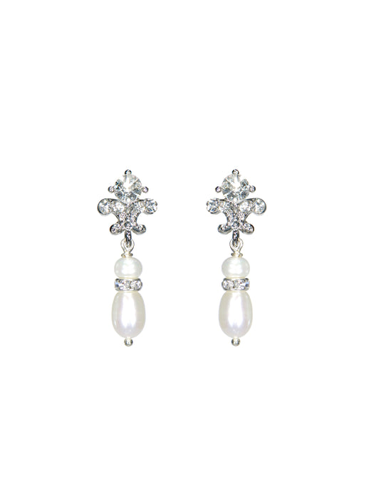 Joy Pearl Drop Earrings - Petite in Silver
