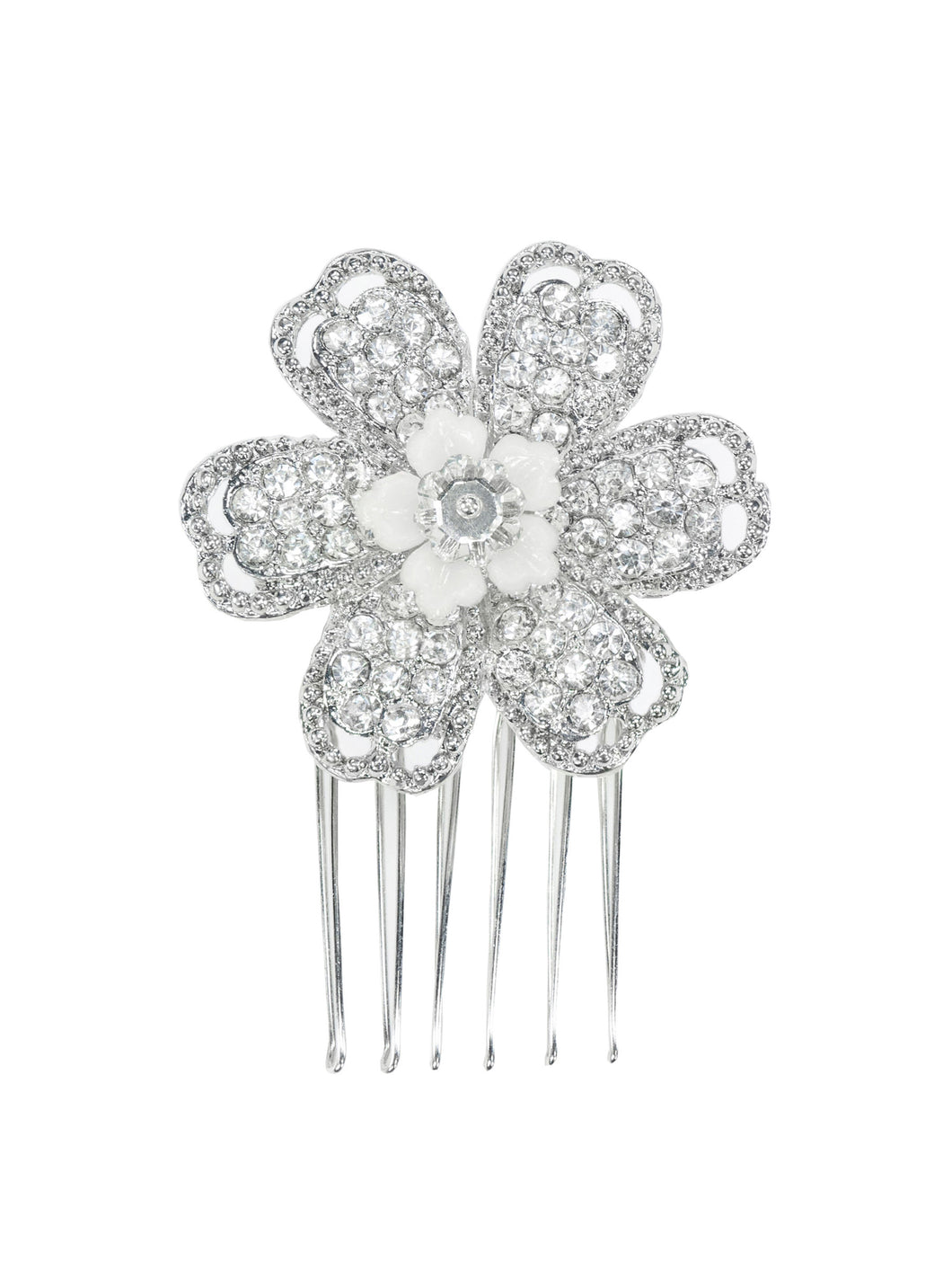 Opulence Rhinestone Single Flower Comb - Medium